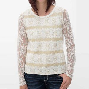 Miss Me Cream and Gold Lace Long Sleeve Top Size L